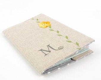 Personalised Linen Passport Cover with Crochet Flower Monogrammed Passport Holder Gift for Her