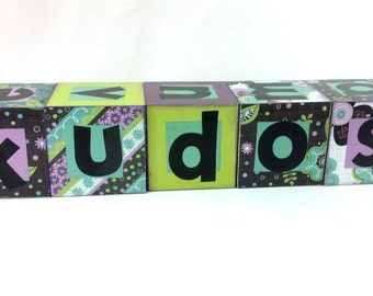 CLEARANCE - was 24 - KUDOS KUBES wood letter blocks. Turquoise, Teal, Purple, Green, Scrapbook Paper Super Sale Letter Decor Messages