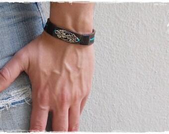 Men's Leather Bracelet, Leaf Leather Cuff Bracelet, Elven Bracelet Cuff, Vine Bracelet Cuff, LARP Norse Cuff, Greek Vine Cuff, Viking Cuff