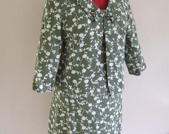 "Vintage 1960's MONTIGO BAY green and white floral print dress and matching jacket B39"" UK 14"