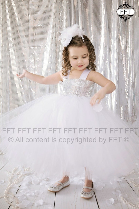 Silver sequin flower girl tutu dress great by frillyfairytales