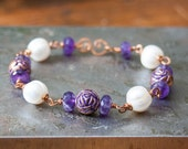 Amethyst Pearl Copper Bracelet Freshwater Pearls Copper Roses Purple Amethyst Bracelet wire wrapped