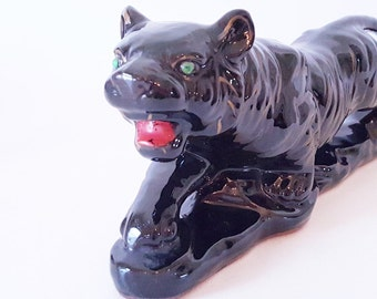 Midcentury Iconic China Panther Home Decor Black Gold Crouching Panther Tiger TV Lamp Style Modern Home Decor