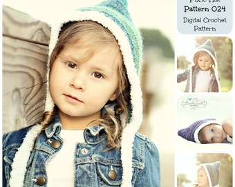 Crochet Pattern, Hat Pattern, Fur Trimmed Pixie Hat Pattern 024, Children's Hat Pattern, Baby Hat Pattern