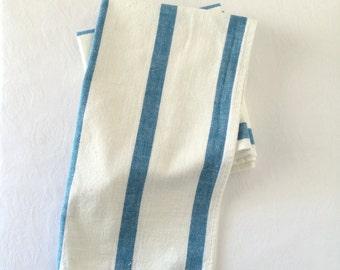 Striped Tea Towel Cotton Vintage Blue White Kitchen Towel