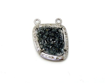 Dark Quartz Druzy Cabachon set in an Oxidized Sterling Silver and Pave DIAMOND Bezel- Druzy Drusy Pendant (EX21-60)