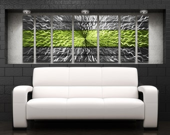 """Large Metal Wall Art Sculpture """"Cosmic Energy"""" Striped by Brian M Jones Green Modern Art Work Painting Contemporary Home Decor Metal Panels"""