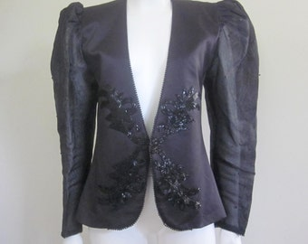 Evening Jacket / Sheer Sleeves / 1980s / Dynasty / 80s Does 40s / Beaded Jacket