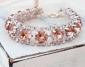 Blush bracelet,Morganite crystal bracelet,Blush bridal bracelet,Blush bridesmaid gift,Tennis bracelet, Swarovski bracelet, Silver or gold