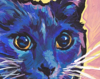 Blue and white Cat portrait art print of pop bright colorful painting 8.5x11