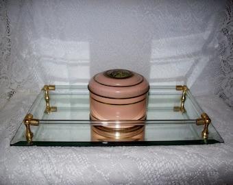 Vintage Bevelled Mirror Dresser Vanity Tray w/ Glass Rails Only 12 USD