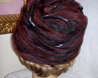 Vintage Ladies Brown Chiffon Hat w/ Feather Trim by Sonni of California Only 7 USD