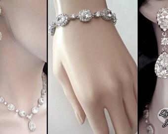 Brides jewelry set, 3 piece set jewelry set, Cubic Zirconias, Necklace,Bracelet and earrings, Wedding jewelry set, LUX~MAGNIFICENT, VICTORIA