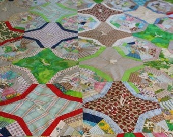 Vintage handmade star and octangon quilt