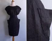 Vintage 80's 'Avant Garde' Shape Shifter Black Wiggle Dress XS or S