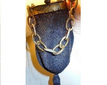 Roaring 20s Flapper Purse, Rainbow Midnight Blue Beaded, Tasseled with Colorful Celluloid Top & Chain. Gorgeous, Nearly 100 Years Old Great