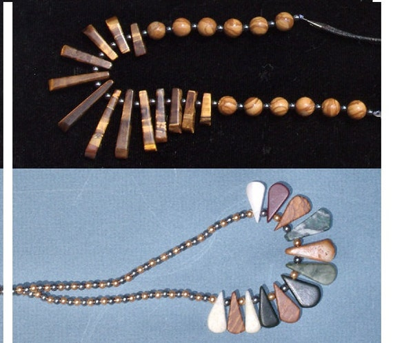 SALE 2 -4 -1, 2 Necklaces for 14.90, Tiger Eye Fan Pendant Necklace with Hematite, Wood Fossil Jasper,Natural Stone Graduated Necklaces.