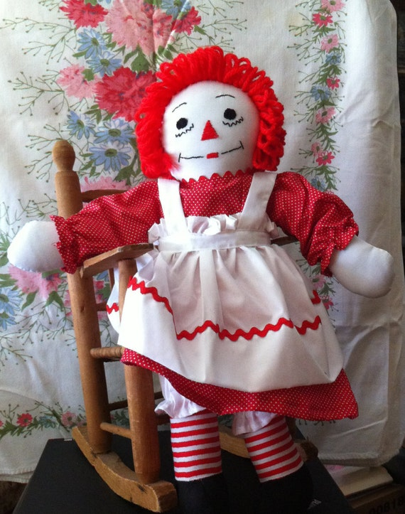 """Raggety Ann's Heart Says """"I Love You"""", 19"""" Child Friendly Doll, Handmade, Removeable Clothing"""