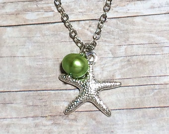 Silver Starfish Necklace Women's Gift For Her Peridot Pearl Bridesmaid Necklace Summer