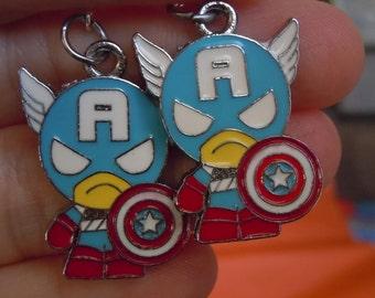 Captain America Earrings, Superhero Earrings, Steve Rogers, Geek Jewelry