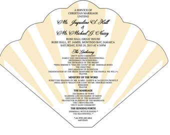 SET OF 25+ Seashell Design 2 Wedding Fan custom colors available