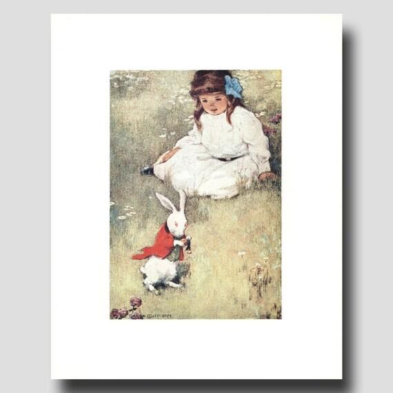 """Alice in Wonderland Nursery Decor, Bessie Pease Gutmann Art --- """"White Rabbit"""" No. 8"""