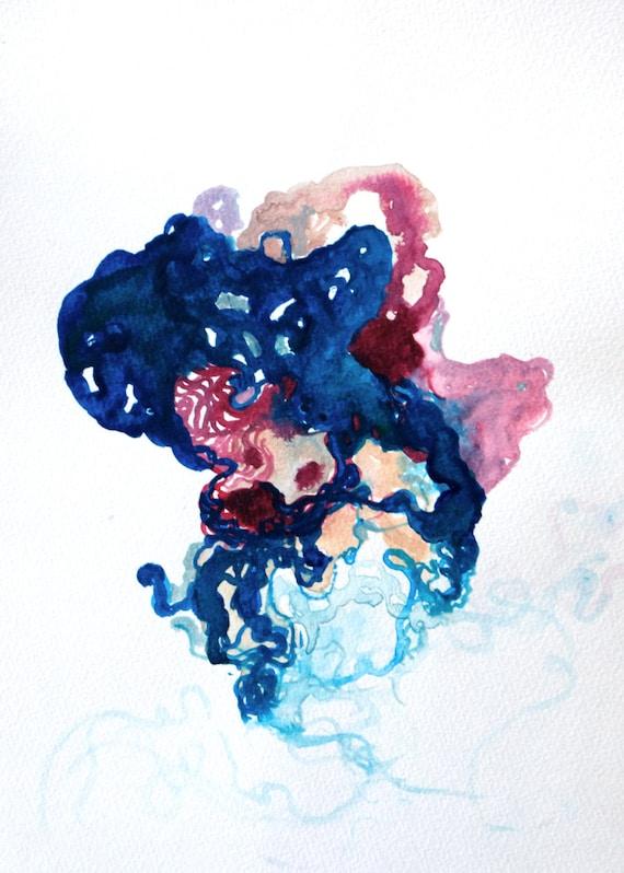 Abstract jellyfish painting Coral Medusae Original