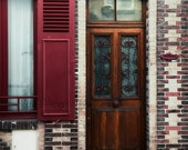 Paris Photography, Wood Door Photo, Wine Red Decor, Architecture Art, Window Shutter Photo, Red Wall Art, Travel Photography, French Door
