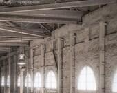 Architecture Photo, Industrial Decor, Brick Building Photo, Cream Decor, Sepia Photography, Interior Art, Rustic Home Decor, Industrial Art