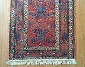 Persian Kurdish Rug, Handknotted Wool Tribal Weave, Coral Blue Decor