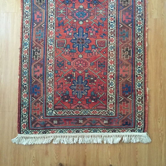Persian Tribal Rugs: Persian Kurdish Rug Handknotted Wool Tribal Weave Coral Blue