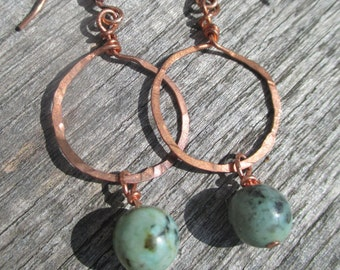 Hammered Copper African Turquoise Earrings