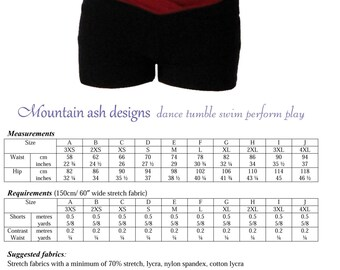 Gymnastics dance shorts 2 pdf sewing pattern Ladies Sizes