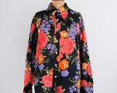 Vintage black floral blouse, 70s mod blouse, long sleeve button up blouse - large xl