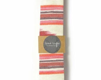 Red oarange and ivory ikat tie - Wedding Mens Tie Skinny Necktie - Laid-Back necktie
