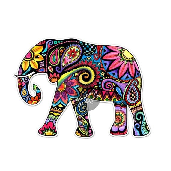 Elephant Drawing Color Elephant Car Decal Colorful