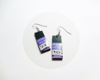geometric dangle earrings rectangle earrings simple earrings vinyl earrings purple earrings ecofashion resin jewelry unique jewelry for her