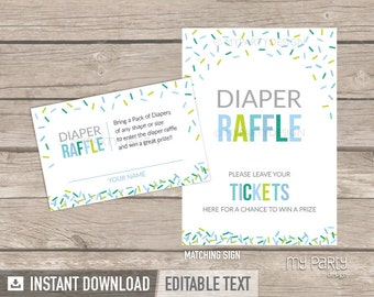 Diaper Raffle Tickets and Sign - Baby Sprinkle - Boy Baby Shower - Sprinkles - INSTANT DOWNLOAD - Printable PDF with Editable Text (BB03)