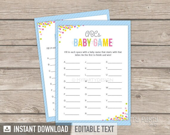 baby shower abc game pdf