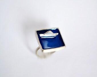 Boat Ring / Handmdade Blue Sea and Boat Ring / Gift for Women / Greek Island Ring / Nautical Enamel Ring / Inspirational Travel Gift