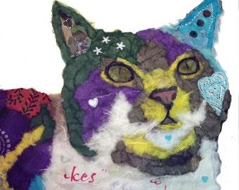 "Print Cat ""Casanova"" Beautiful Giclee vibrantly colored,  Embellished light Texturing, Kitty, Feline Chigiri-e Torn Paper Art"