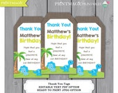 Dinosaur Birthday Party Thank You Tags - Ready to Print or Editable Text Template - Dinosaur Birthday - Dinosaur Party - Instant Download