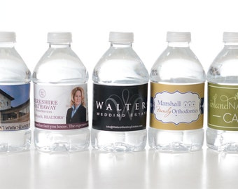 Business Advertising - 125 Custom Water Bottle Labels - Your Business Logo or Design - Custom Logo Water Bottle Labels -