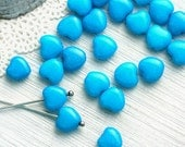 Bright Blue heart beads, czech glass, glass hearts, pressed beads, small heart, blue beads coated, DIY kids - 8mm - 25Pc - 0086