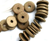10Pc Greek Ceramic beads - Old bronze patina - 13mm spacer, for leather cord, washer, round, rondelle, rustic - 2283
