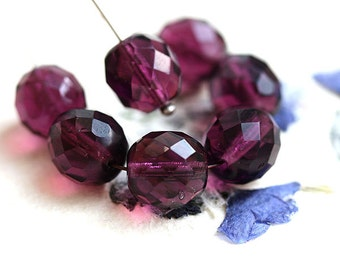 10mm Dark Purple Czech glass beads, fire polished round ball faceted beads - 10Pc - 3037