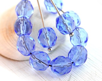 8mm Sapphire blue beads, czech glass, Fire polished, blue beads, round faceted spacers - 8mm - 15Pc - 2101
