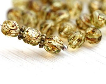 6mm beads, Light Olivine glass beads, czech beads, fire polished, round faceted spacers - 30Pc - 2226