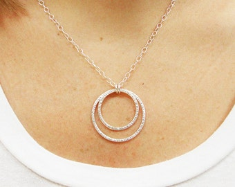 Sterling Silver Double Hoop Necklace - Double Ring Necklace - Eternity Necklace - Handmade Necklace