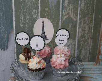 French Lovers Cupcake Toppers ~ French Cupcake Toppers ~ Lovers of All Things French